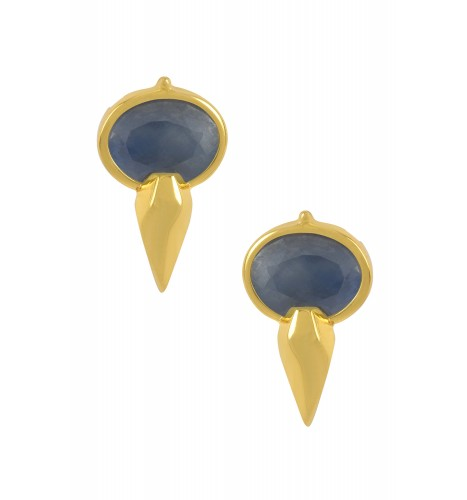 Silver Gold Plated Oval Sapphire Ear Studs