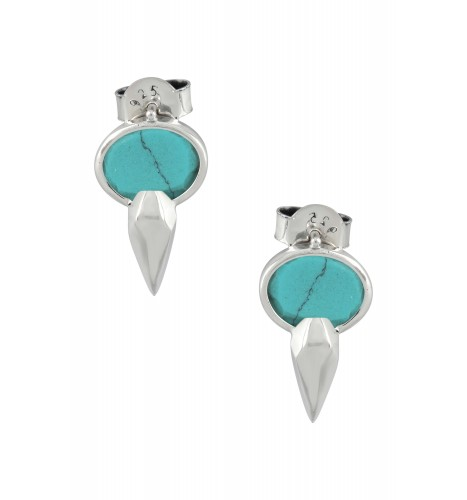 Silver Oval Turquoise Ear Studs