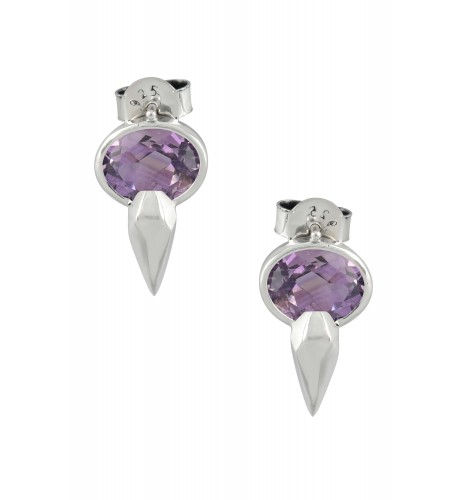Silver Gold Plated Oval Ruby Ear Studs