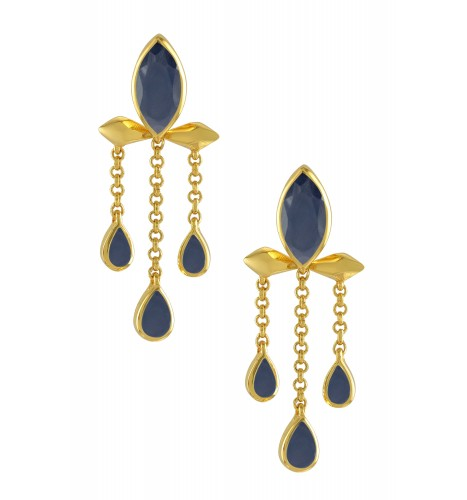 Silver Gold Plated Sapphire Marquise Triple Drop Earrings