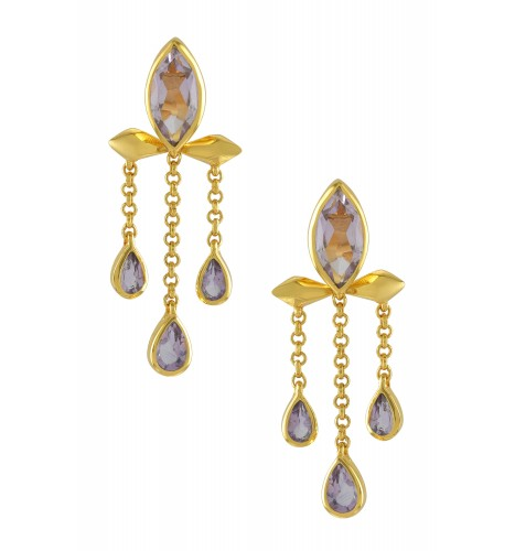 Silver Gold Plated Amethyst Marquise Triple Drop Earrings