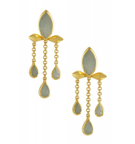Silver Gold Plated Aquamarine Marquise Triple Drop Earrings