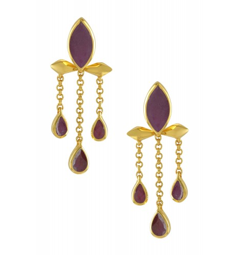 Silver Gold Plated Ruby Marquise Triple Drop Earrings