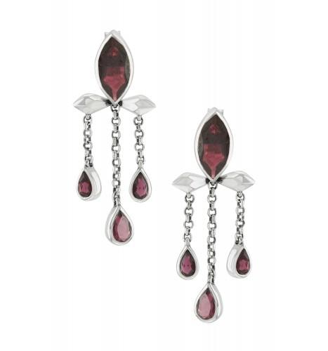 Silver Garnet Marquise Triple Drop Earrings