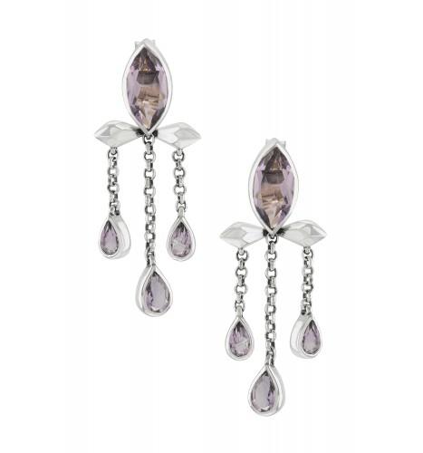 Silver Amethyst Marquise Triple Drop Earrings