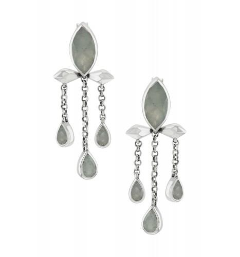 Silver Aquamarine Marquise Triple Drop Earrings