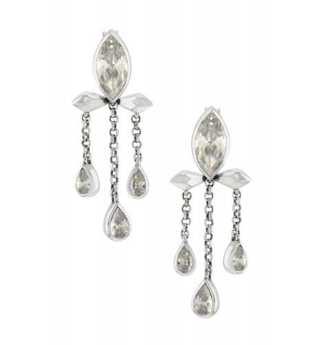 Silver Cubic Zirconia Marquise Triple Drop Earrings