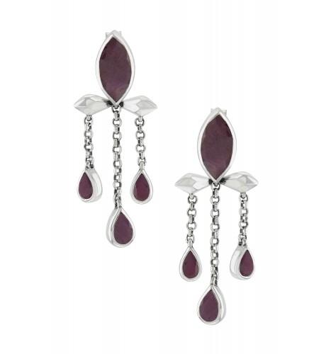 Silver Ruby Marquise Triple Drop Earrings