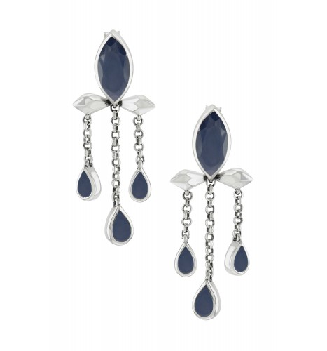 Silver Blue Sapphire Marquise Triple Drop Earrings