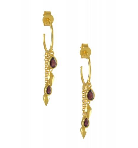 Silver Gold Plated Garnet Hoop Drop Earrings