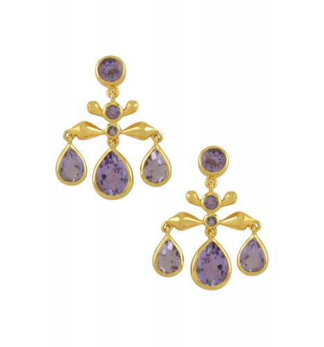 Silver Gold Plated Amethyst Pear Drop Earrings