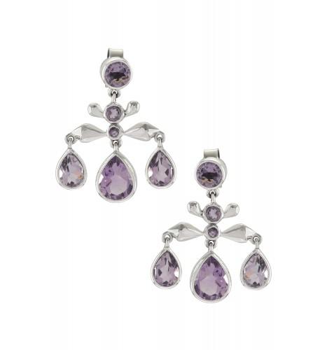 Silver Amethyst Pear Drop Earrings