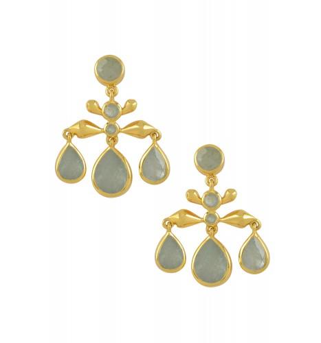 Silver Gold Plated Aquamarine Pear Drop Earrings