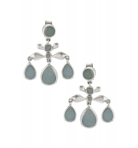 Silver Aquamarine Pear Drop Earrings