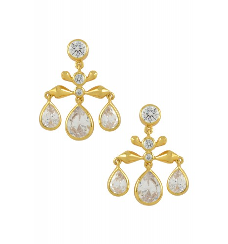 Silver Gold Plated Cubic Zirconia Pear Drop Earrings
