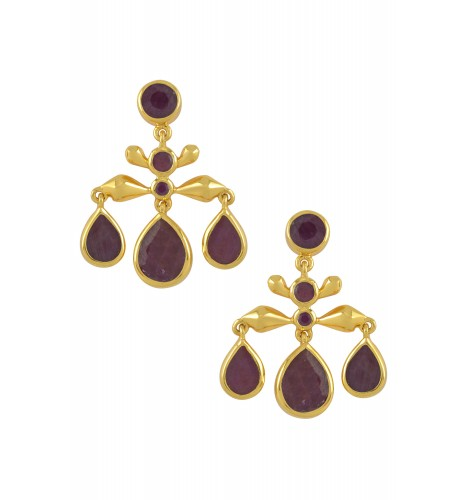 Silver Gold Plated Ruby Pear Drop Earrings