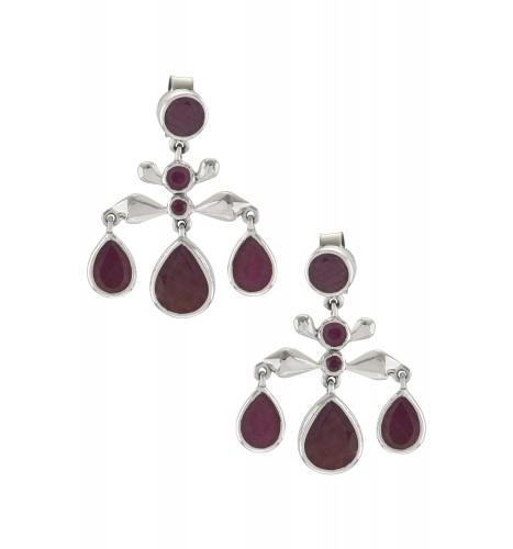 Silver Ruby Pear Drop Earrings