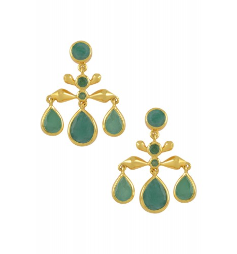 Silver Gold Plated Emerald Pear Drop Earrings