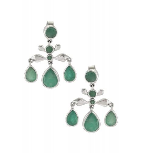 Silver Emerald Pear Drop Earrings