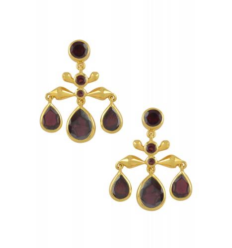Silver Gold Plated Garnet Pear Drop Earrings
