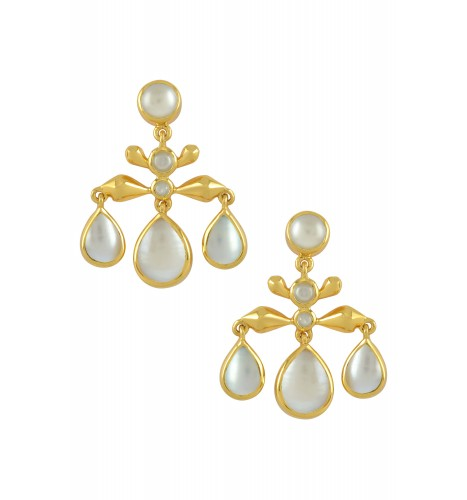 Silver Gold Plated Pearl Pear Drop Earrings
