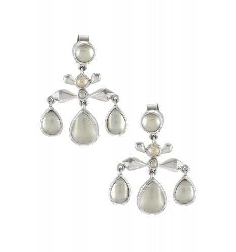 Silver Pearl Pear Drop Earrings