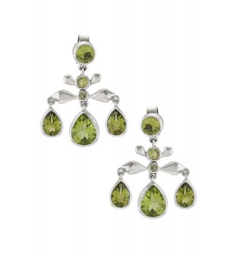 Silver Peridot Pear Drop Earrings