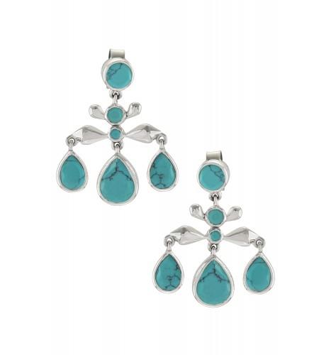 Silver Turquoise Pear Drop Earrings