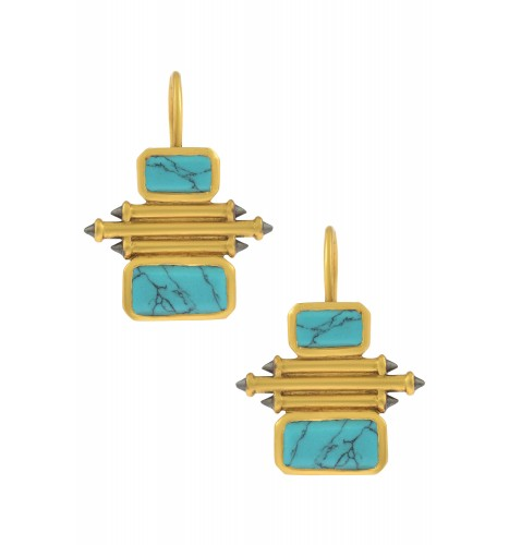 Silver Gold Plated Turquoise Double Rectangle Taveez Earrings