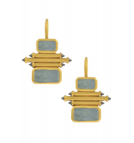 Silver Gold Plated Aquamarine Double Rectangle Taveez Earrings