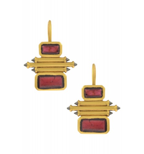 Silver Gold Plated Garnet Double Rectangle Taveez Earrings