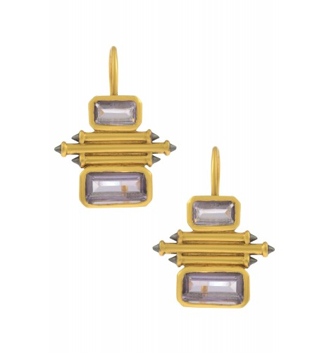 Silver Gold Plated Amethyst Double Rectangle Taveez Earrings