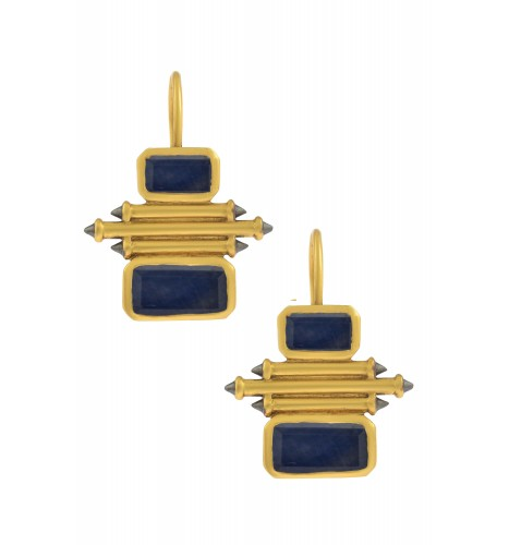 Silver Gold Plated Sapphire Double Rectangle Taveez Earrings