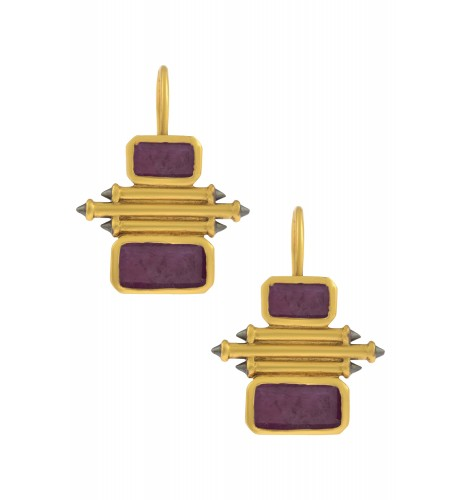 Silver Gold Plated Ruby Double Rectangle Taveez Earrings