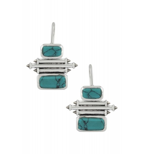 Silver Turquoise Double Rectangle Taveez Earrings