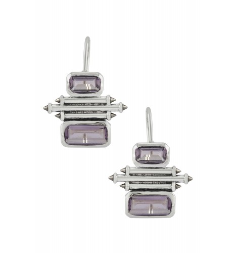 Silver Amethyst Double Rectangle Taveez Earrings