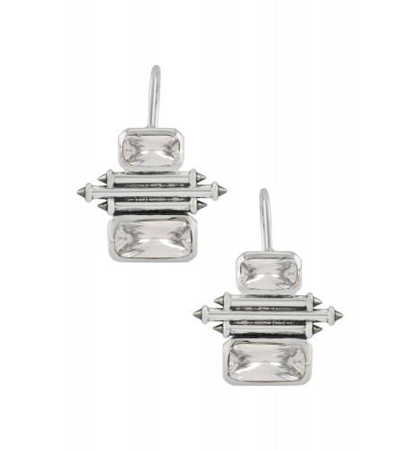 Silver Cubic Zirconia Double Rectangle Taveez Earrings