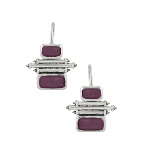Silver Ruby Double Rectangle Taveez Earrings