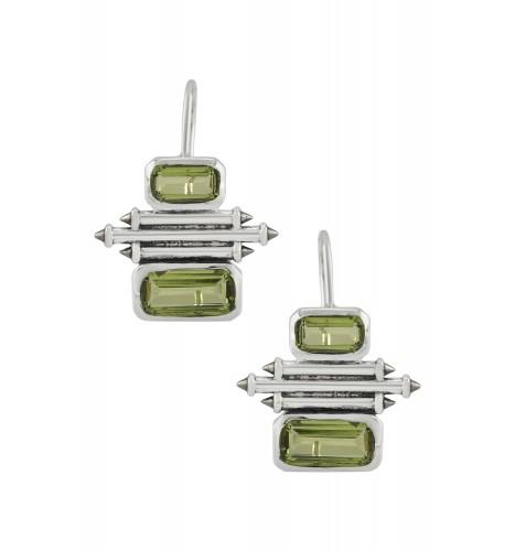 Silver Peridot Double Rectangle Taveez Earrings