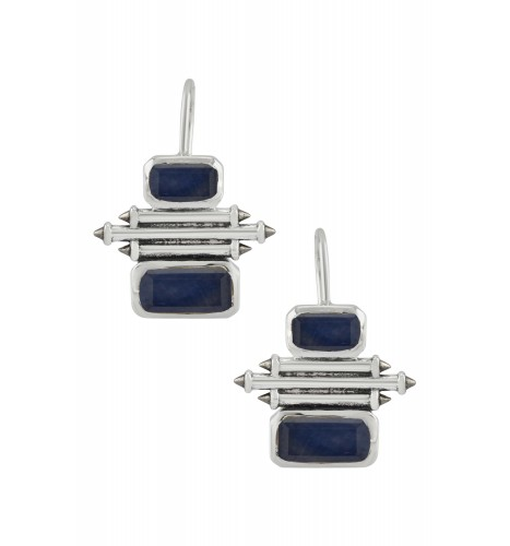 Silver Sapphire Double Rectangle Taveez Earrings