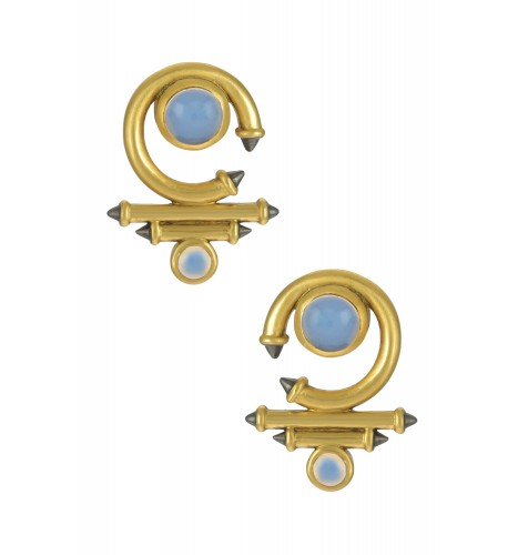 Silver Gold Plated Opal Round Curved Taveez Ear Stud