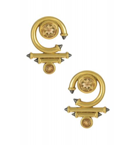 Silver Gold Plated Citrine Round Curved Taveez Ear Stud