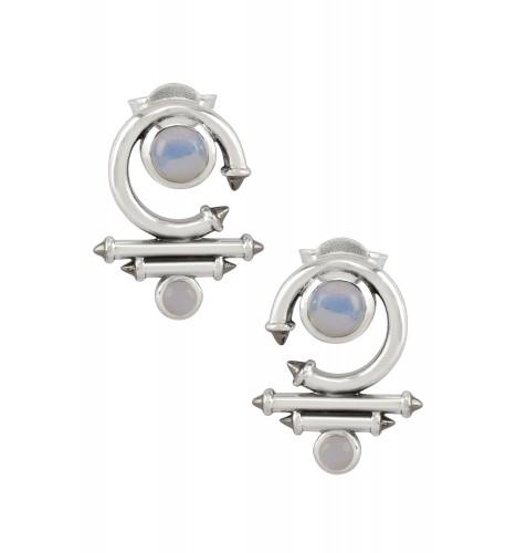 Silver Opal Round Curved Taveez Ear Stud