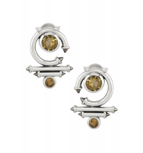Silver Citrine Round Curved Taveez Ear Stud