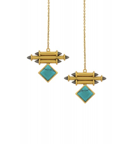 Silver Gold Plated Turquoise Front Back Earrings