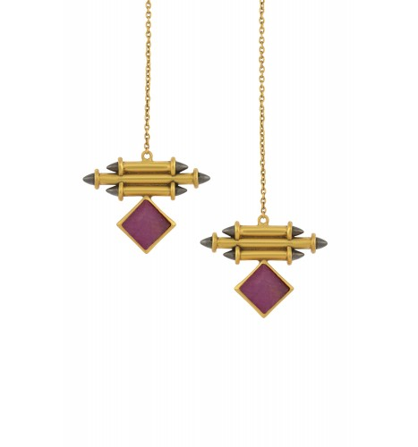 Silver Gold Plated Ruby Front Back Earrings