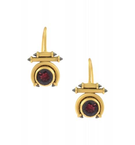 Silver Gold Plated Garnet Round Taveez Hook Earrings