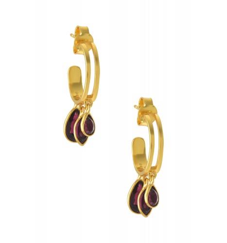 Silver Gold Plated Garnet Drop Hoop Earrings