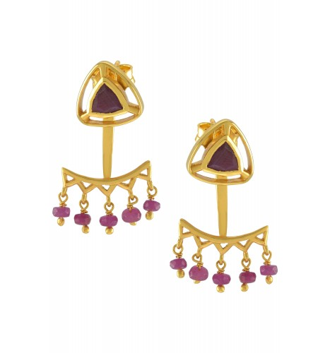 Silver Gold Plated Ruby Trillion Drop Front Back Earrings