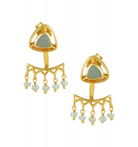Silver Gold Plated Aquamarine Trillion Drop Front Back Earrings